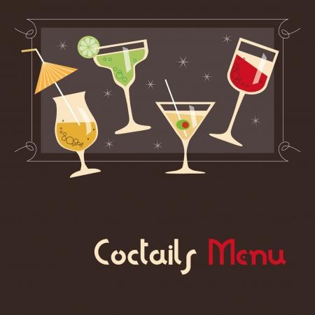 burgundy drink glass: Coctails Menu Card Design Illustration
