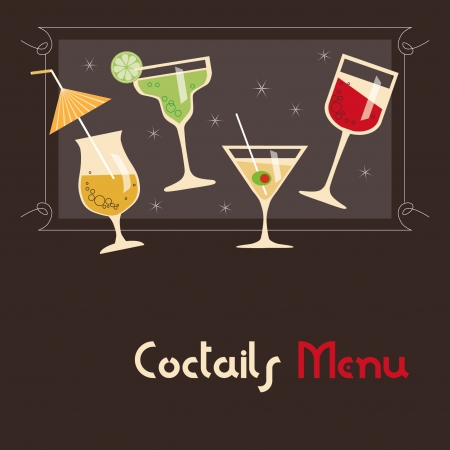 vaso martini: Cocteles Design Menu Card