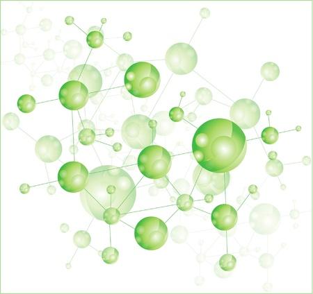 quimica organica: Ilustración molécula Verde Vectores