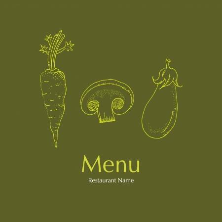 Restaurant Vegetarian Menu Cards Design Ilustração