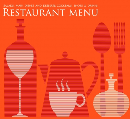Restaurant menu creatieve oranje Stock Illustratie