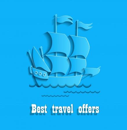 odyssey: Fine ship for your travel an illustration Illustration