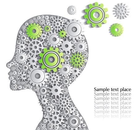 partes del cuerpo humano: Jefe de la persona está llena de buenas ideas, tarjeta creativa