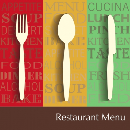 commercial kitchen: restaurant menu Illustration