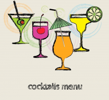 Menu cocktails for cafe  Vector