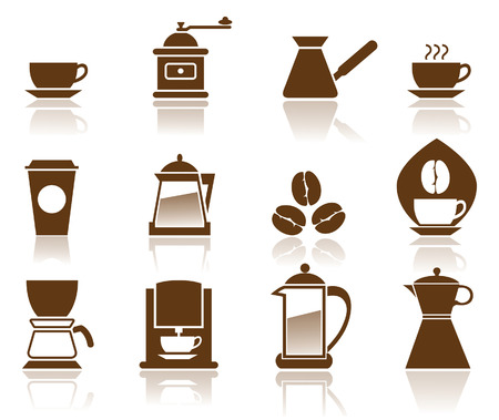 with coffee maker: Illustration - Elegant Coffee Icons Set