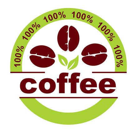 coffee leaf: Label with coffee grains  Illustration