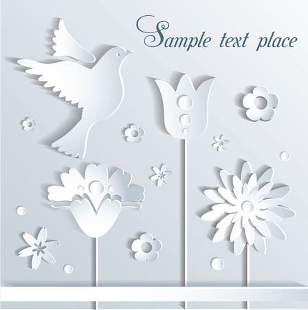 Vector illustration paper flowers and bird Vector