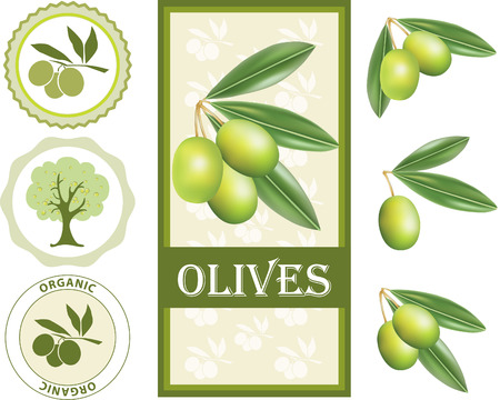Green olive label set Vector