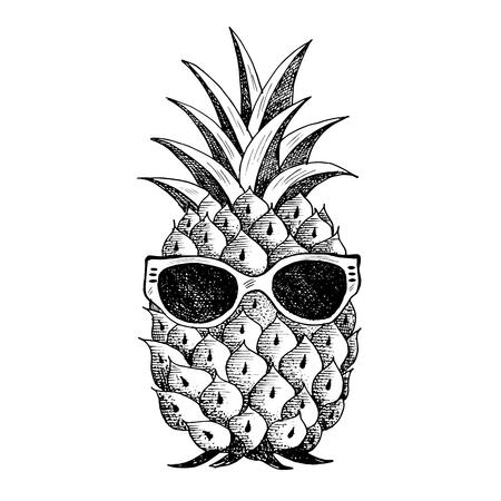 Letni ananas w okularach. Ilustracje wektorowe