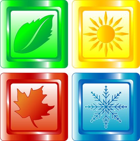 estaciones del a�o: Cuatro estaciones botones de la tela brillante Vectores