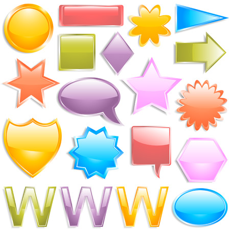 Colorful glossy web elements