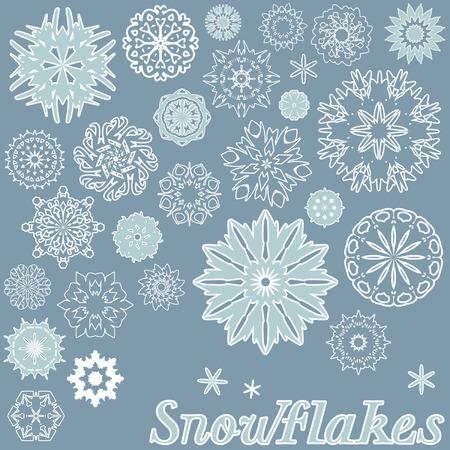 Set of beautiful snowflakes