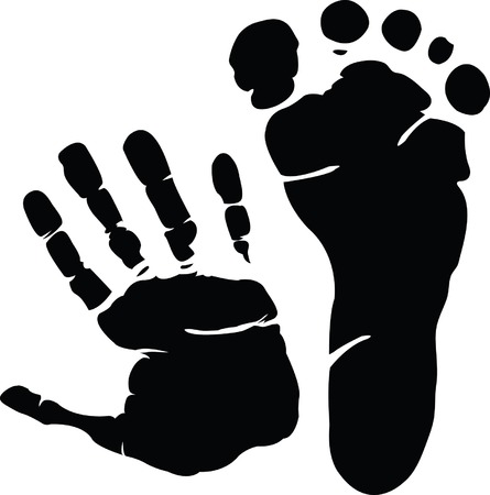 finger print: Hand and footprint Illustration