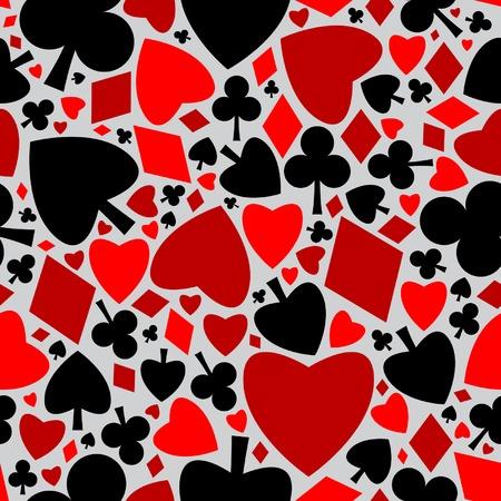 Playing cards symbols seamless pattern Illustration