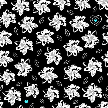Seamless floral pattern with hearts
