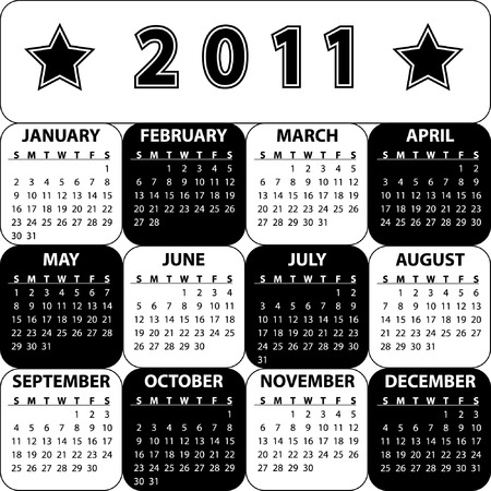 Black and white calendar for 2011 Illustration