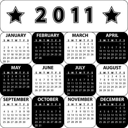 Black and white calendar for 2011 Illustration