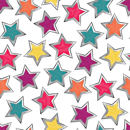 bright decoration color: Colorful stars seamless pattern Illustration