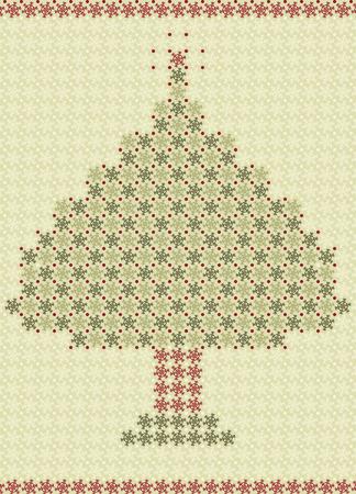 Christmas card made of snowflakes