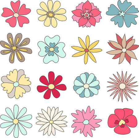 hand drawn flower: Collection of hand drawn flowers
