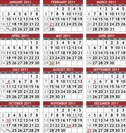 Classic calendar template for 2011