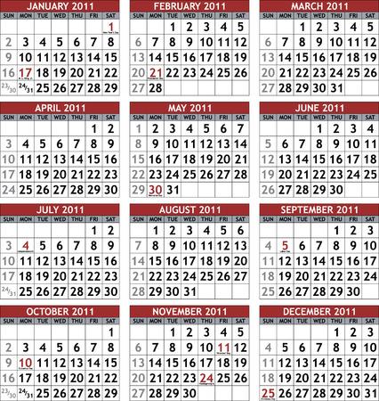 Classic calendar template for 2011