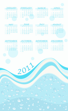 2011 calendar with wavy water background  Illustration