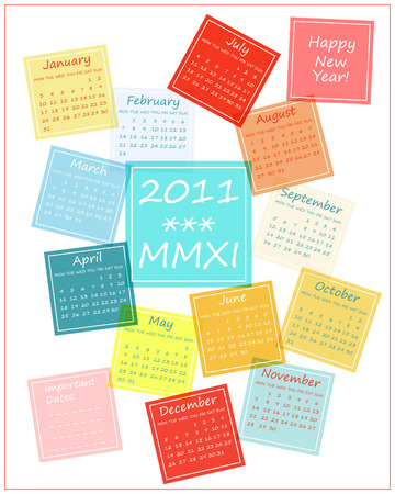 2011 calendar made of colorful tiles