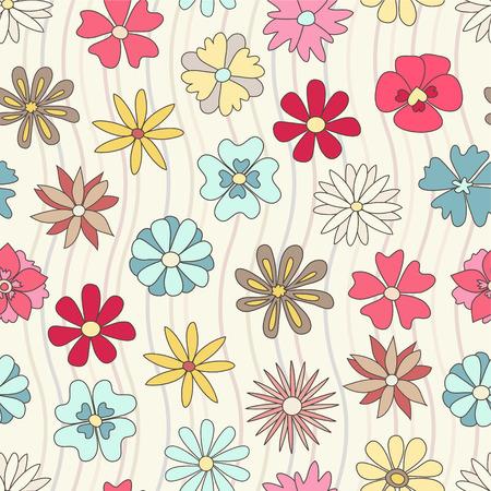 Patrón de floral dibujado mano transparente