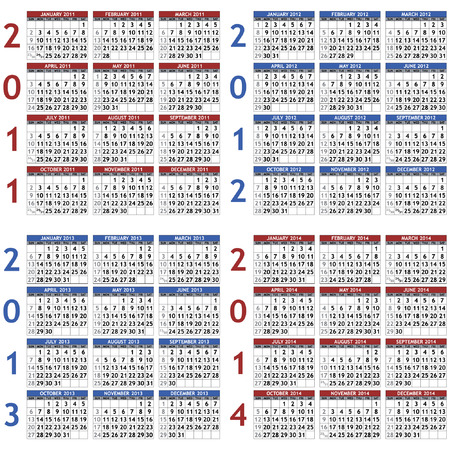 Four calendar templates for years 2011 - 2014 Vector