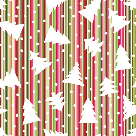 Seamless Christmas striped background with trees and snowballs Vector