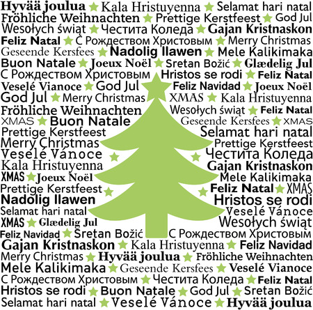 Merry Christmas in different languages, typographic background Vector