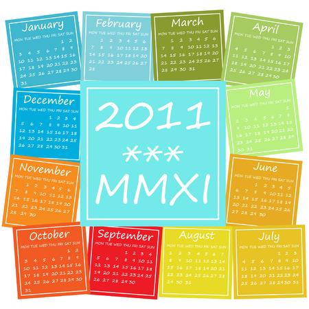 2011 calendar in seasonal colors