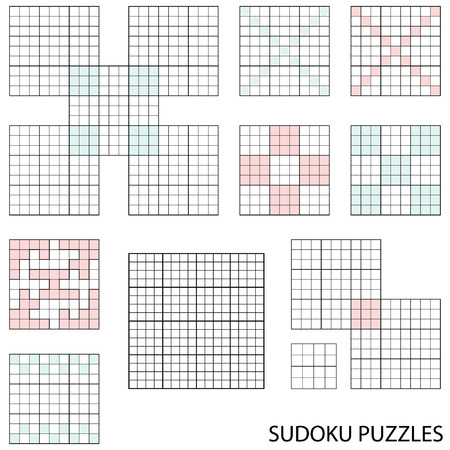 clue: Lege sudoku templates-collectie Stock Illustratie