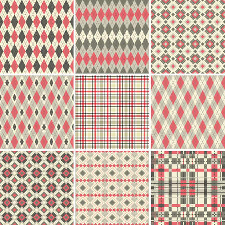 Collection of seamless argyle and plaid patterns Illustration