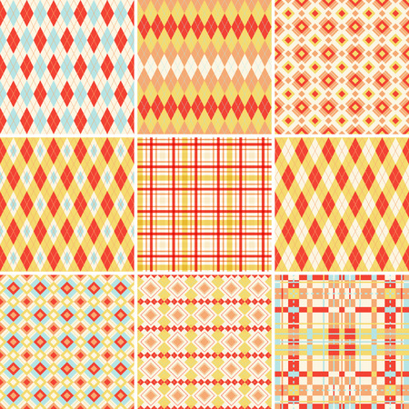 Seamless argyle and plaid patterns in bright colors