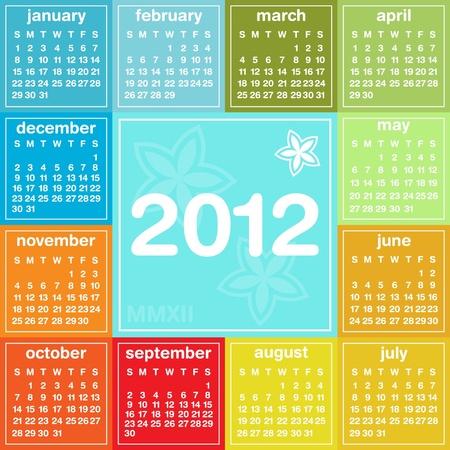 2012 calendar in seasonal colors, weeks start on Sunday
