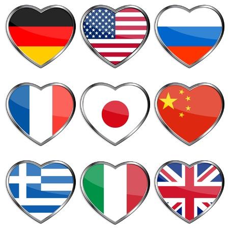 drapeau anglais: Drapeaux dans les coeurs Illustration