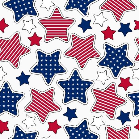 rayas de colores: Estadounidense patr�n de rayas y estrellas transparente Vectores