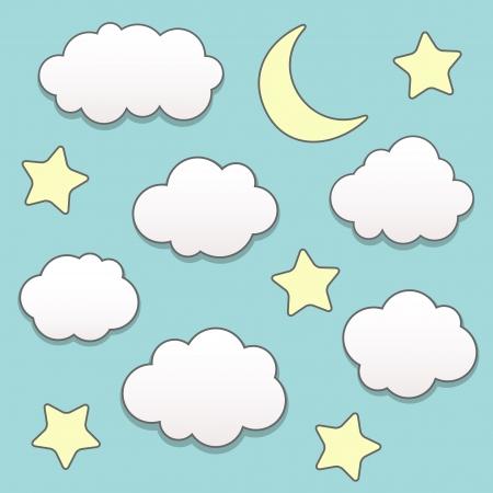 star and crescent: Noche estrellada con luna y las nubes Vectores