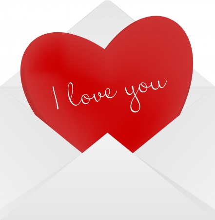 Heart in the envelope  Long distance relationship concept  Vector