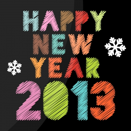 Happy new year 2013 vintage poster Illustration