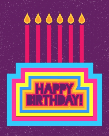 Cute colorful happy birthday card Illustration