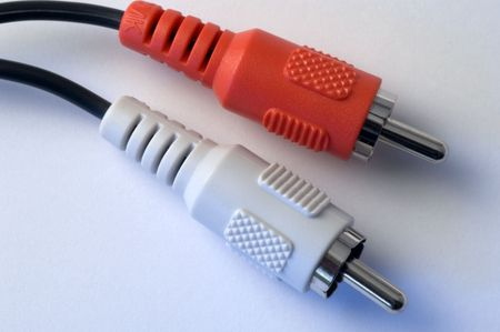 white and red audio cable photo