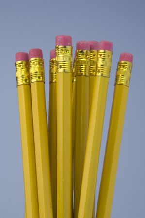 storyboard: bunch of yellow pencils with eraser, isolated Stock Photo