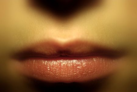 Blurred Close-up of Lips