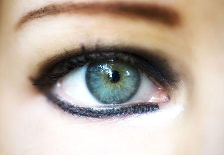 hazel eyes: close-up woman eye Stock Photo