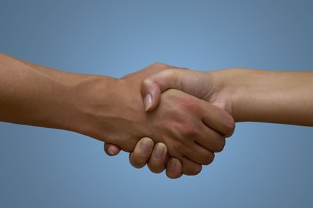 tact: female and male shaking hands Stock Photo