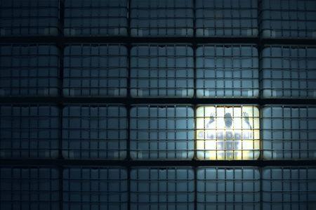locked up: man locked up in a cube